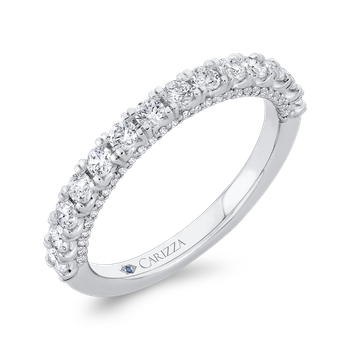 18K White Gold Half Run Diamond Wedding Band