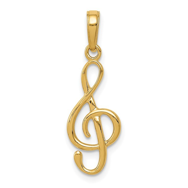 Fine Jewelry by JBD 14K 3-D Clef Treble Clef Pendant