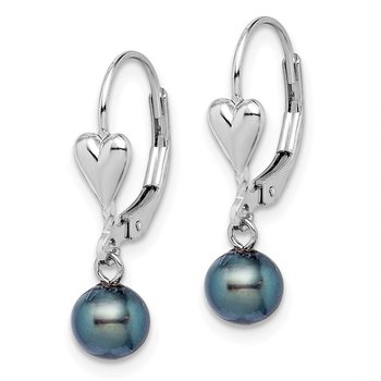 Sterling Silver Rh-plated 6-7mm Black FW Cultured Pearl Leverback Earrings