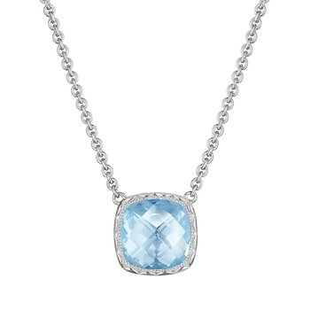 Cushion Gem Necklace with Sky Blue Topaz