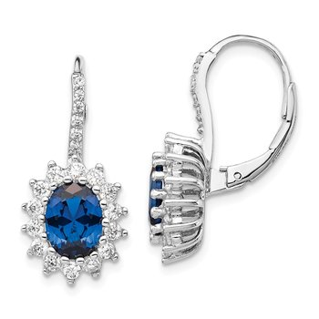 Cheryl M SS Rhodium Plated Created Blue Spinel & CZ Leverback Earrings