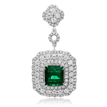 Triple Halo Emerald Drop Earrings