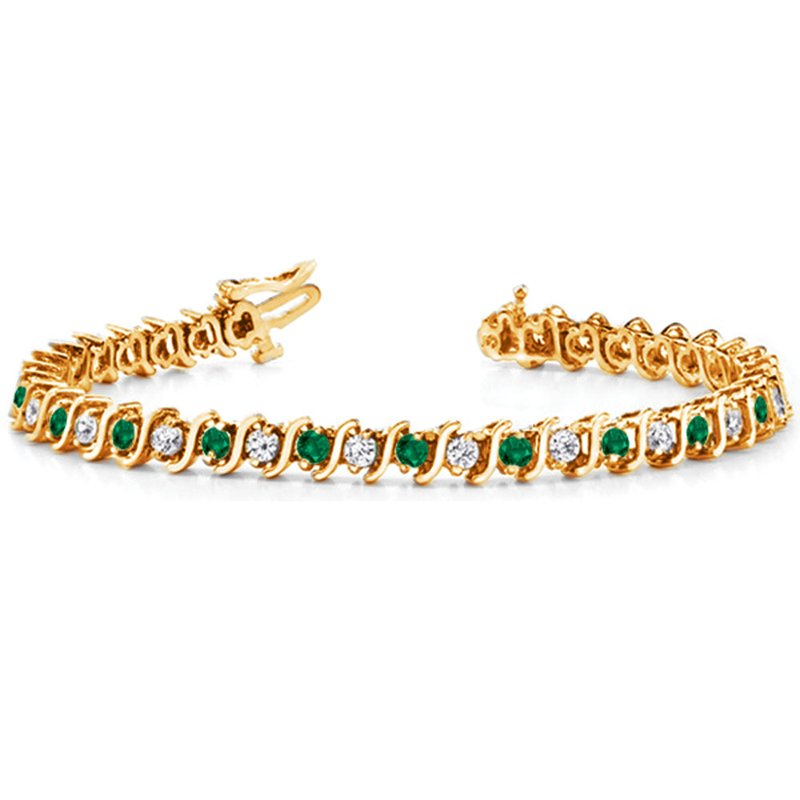 S. Kashi  & Sons Yellow Gold Emerald & Diamond Bracelet