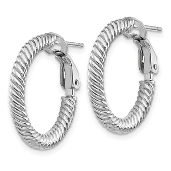 14k 3x15mm White Gold Twisted Round Omega Back Hoop Earrings