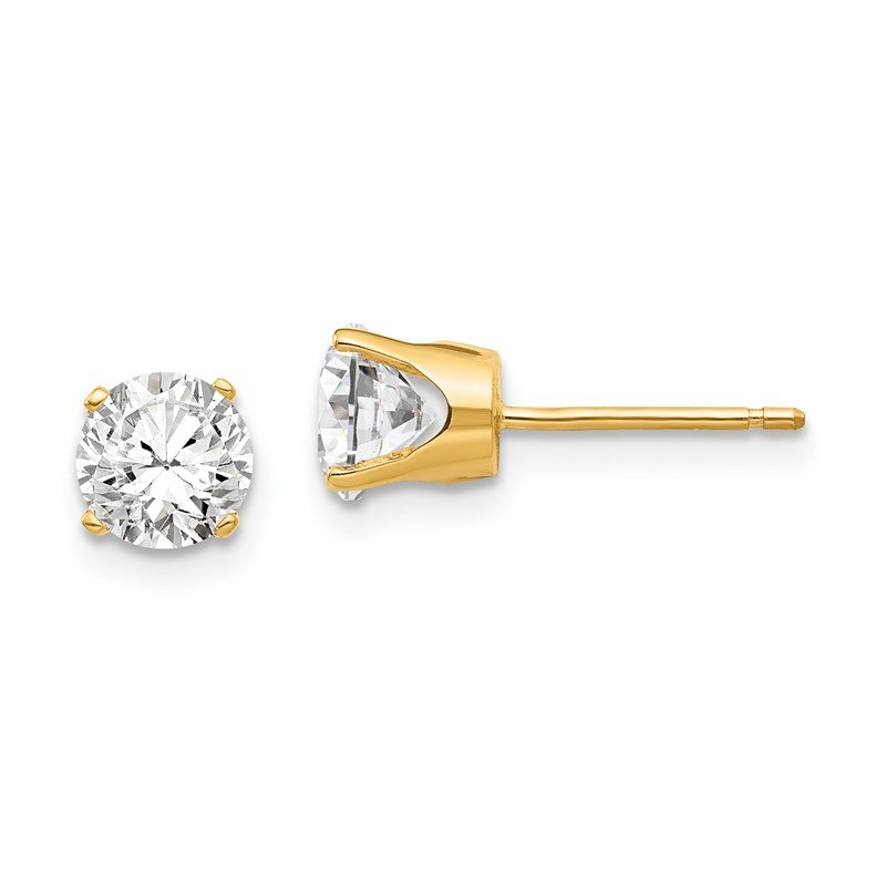 Quality Gold 14k 5.5mm CZ stud earrings