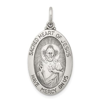 Sterling Silver Antiqued Sacred Heart of Jesus Medal