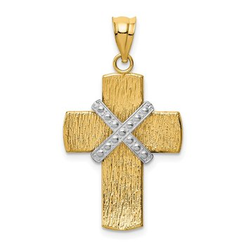 14K Two-tone Diamond-cut Cross Pendant