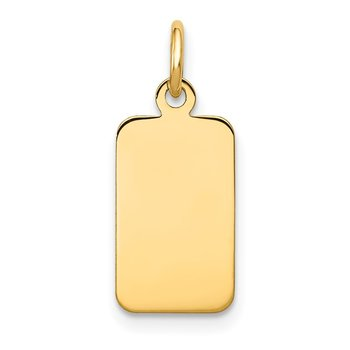 14k Plain .013 Gauge Engravable Rectangular Disc Charm
