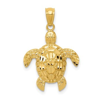 14k Diamond-cut Polished Sea Turtle Pendant