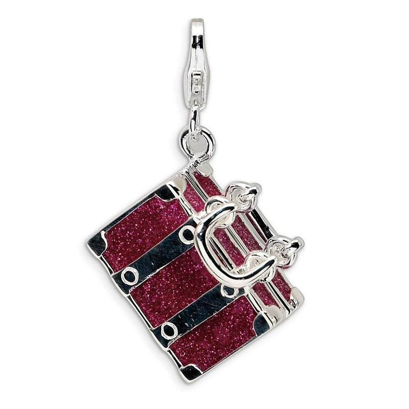Quality Gold Sterling Silver 3-D Enameled Fuschia Luggage w/Lobster Clasp Charm