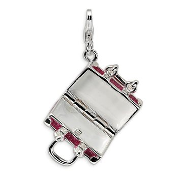 SS RH 3-D Enameled Fuchsia Luggage w/Lobster Clasp Charm