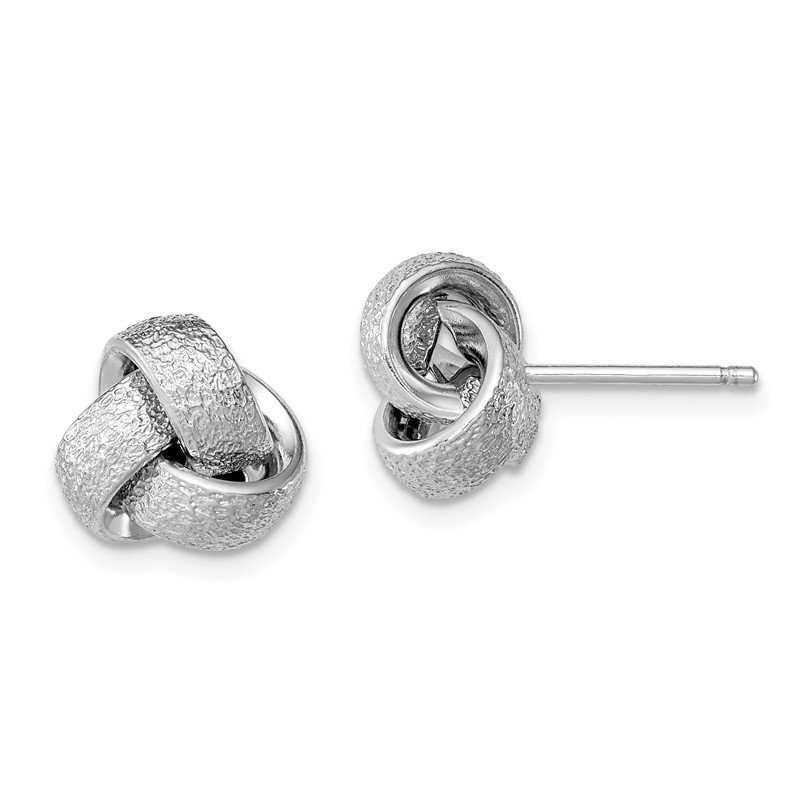 Quality Gold Sterling Silver Rhodium-plated Polished / Satin Knot Earrings