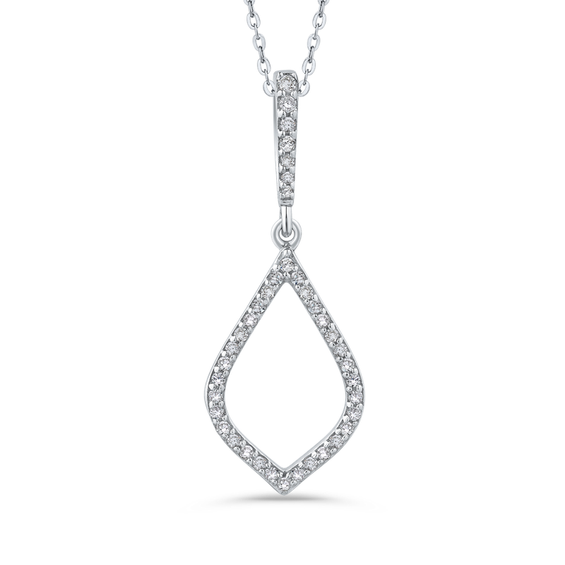 Essentials 10K White Gold 1/5 Ct Diamond Fashion Pendant with Chain