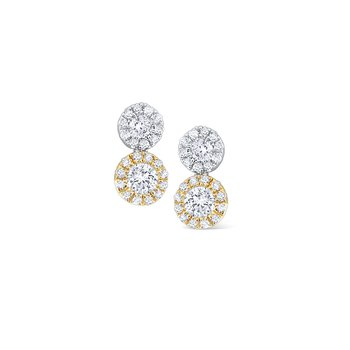 Round Halo Diamond Earrings Set in Two Tone 14 Kt. Gold