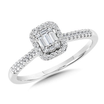 Rectangular Plumb Collection Baguette Cluster Diamond Halo Ring