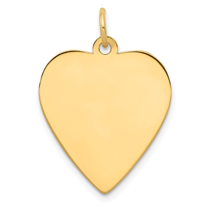 Quality Gold 14k Plain .011 Gauge Engravable Heart Disc Charm