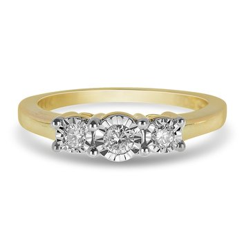 14K YG Diamond Three Stone Ring
