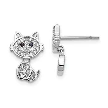 Cheryl M Sterling Silver Rhodium-plated Post Dangle CZ Cat Earrings