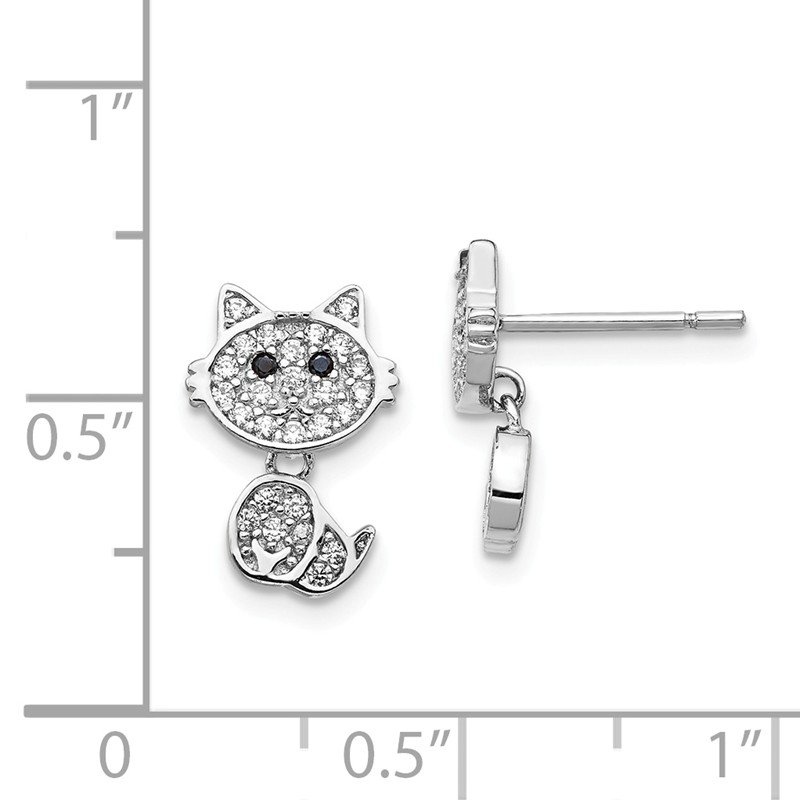 Cheryl M Cheryl M Sterling Silver Rhodium-plated Post Dangle CZ Cat Earrings