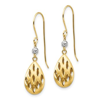 14k Two-Tone Diamond Cut Teardrop Dangle Earrings