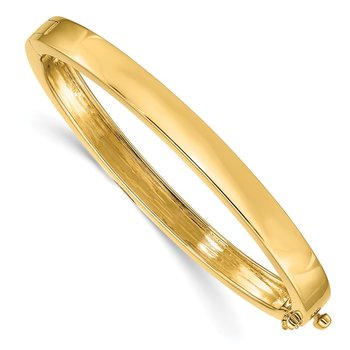 14k 6.3mm Polished Solid Hinged Bangle Bracelet