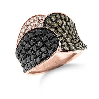 Black, White And Champagne Diamond Ring in 14k Rose Gold with 118 Diamonds weighing 1.96ct tw.