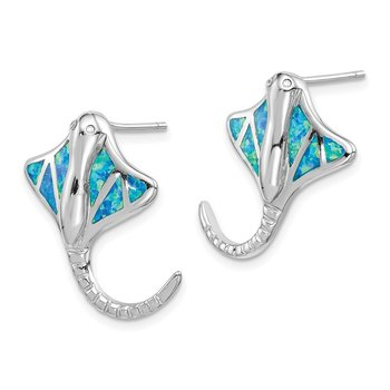 Sterling Silver Rhodium-plated Created Blue Opal Stingray Post Earrings