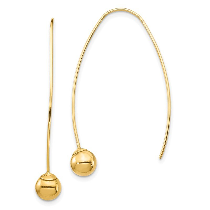 Quality Gold 14K Bead Threader Dangle Earrings