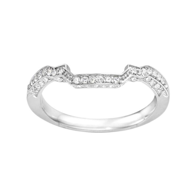 True Romance Round Cut Diamond Vintage Style Matching Wedding Band