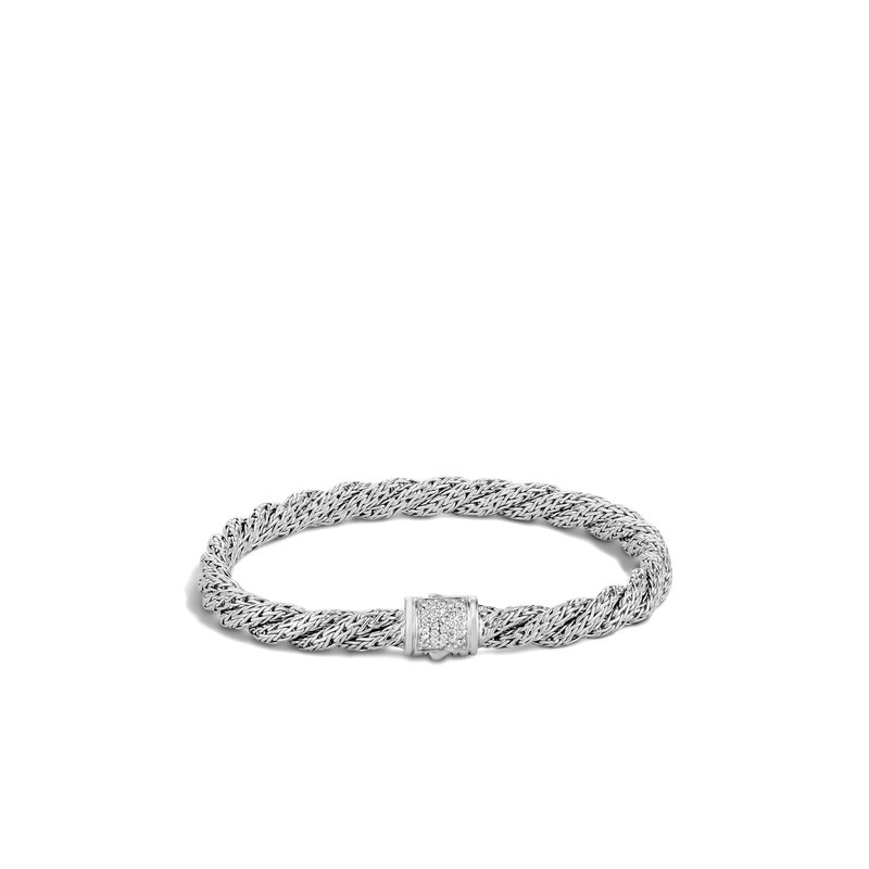 John Hardy Twisted Chain 5.5MM Bracelet in Silver with Diamonds