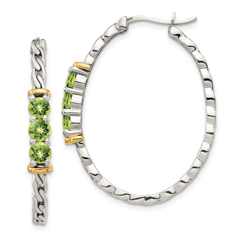 Quality Gold Sterling Silver w/ 14K Accent Peridot Hoop Earrings
