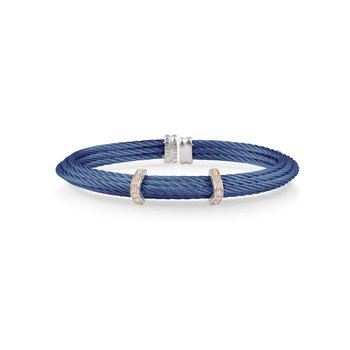Blueberry Cable Tiered Bracelet with Double Diamond Station