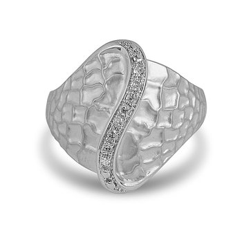 925 SS and Diamond Fashion Ring in Sand Blast Finish