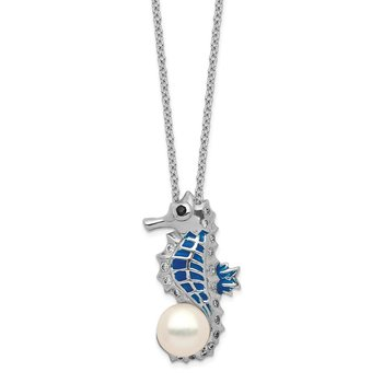 Cheryl M Sterling Silver CZ FW Cultured Pearl Enamel Seahorse Necklace