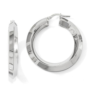 Leslie's Sterling Silver Rhodium-plated Hoop Earrings