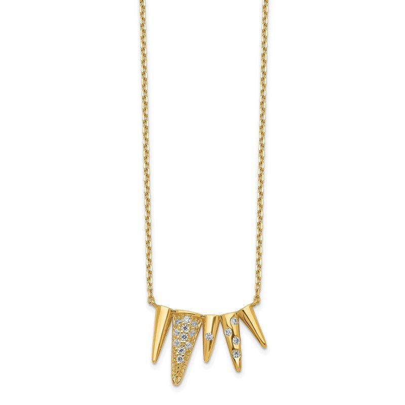 Quality Gold 14K Decorated Triangles CZ with 2IN EXT Necklace