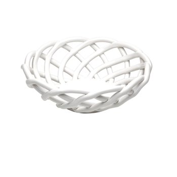 Medium Round Basket, White