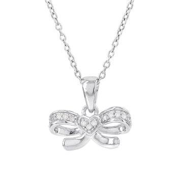 Sterling Silver Diamond Accent Bow with Heart Necklace