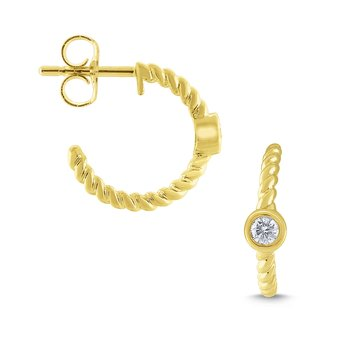 14k Gold and Diamond Mini Hoop Earrings