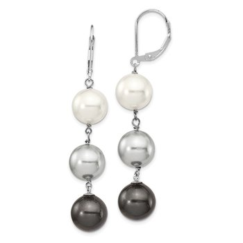 Sterling S Majestik Rh-plated 10-11mm Wht/Gr/Blk Imitat Shell Pearl Earring