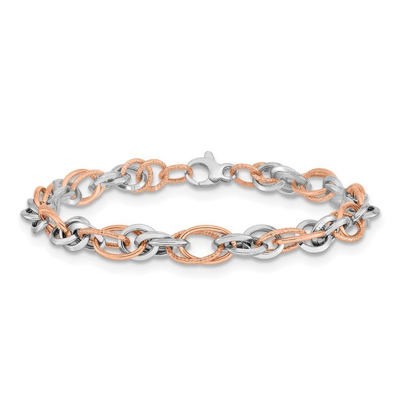 Leslie's Leslie's 14K Rose and White Gold Polished D/C Bracelet