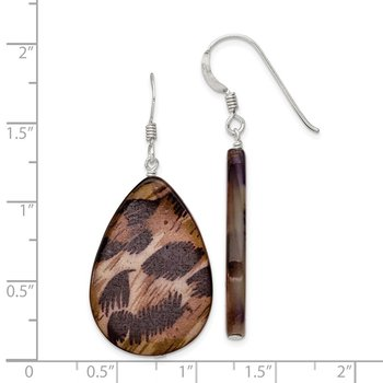 Sterling Silver Large Mother of Pearl Brown Tiger Tear Drop Earrings