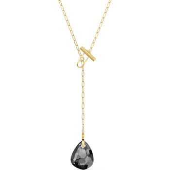 T Bar Y Necklace, Gray, Gold-tone plated