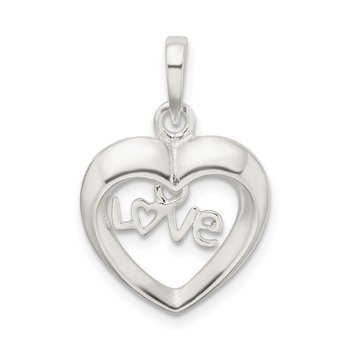 Sterling Silver Polished Love Heart Pendant