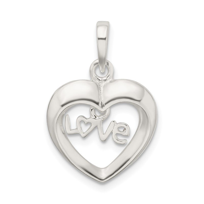 Quality Gold Sterling Silver Polished Love Heart Pendant