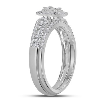 14kt White Gold Womens Princess Diamond Halo Bridal Wedding Engagement Ring Band Set 1/2 Cttw