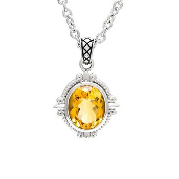 Sterling Silver Fleur de Lis Design Citrine Pendant with Chain