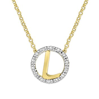 "Gold and Diamond Mini Halo ""L"" Initial Necklace"