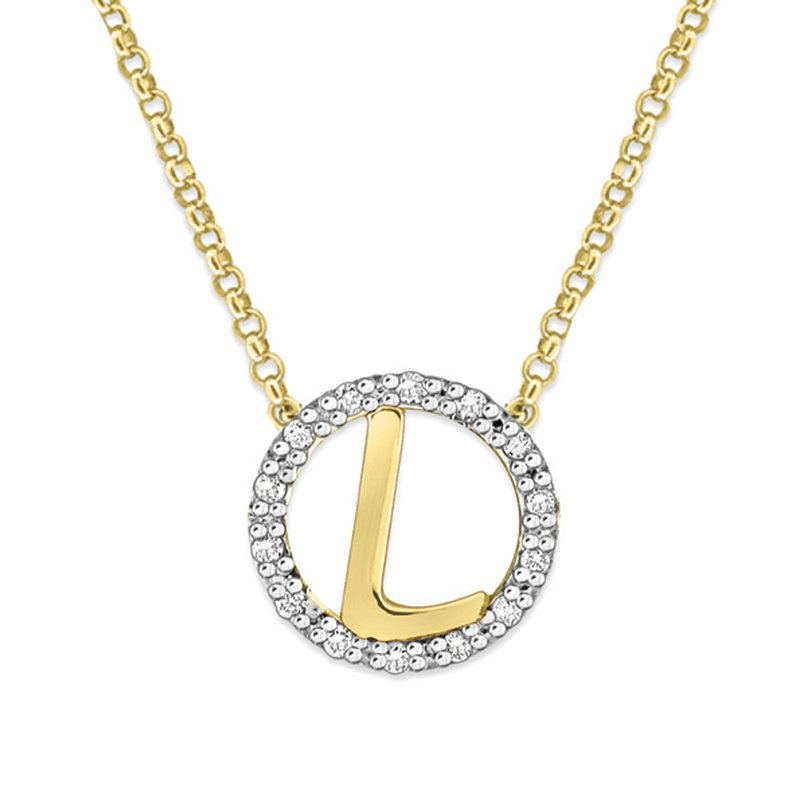 "MAZZARESE Fashion Gold and Diamond Mini Halo ""L"" Initial Necklace"