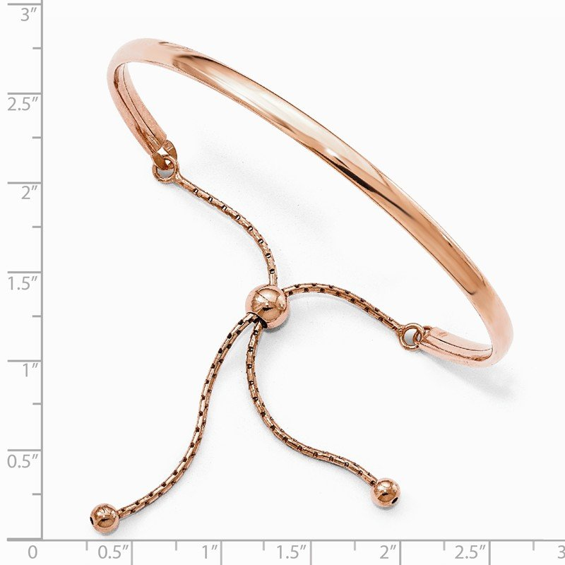 Leslie's Leslie's Sterling Silver Rose Gold-plated Polished Adjust Bangle
